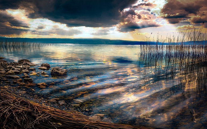 Macedonia-Ohrid-Lake-stones-reeds-clouds-sunset_2560x1600
